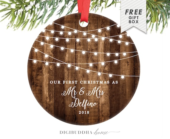 Rustic First Christmas as Mr & Mrs Ornament Our First | Etsy