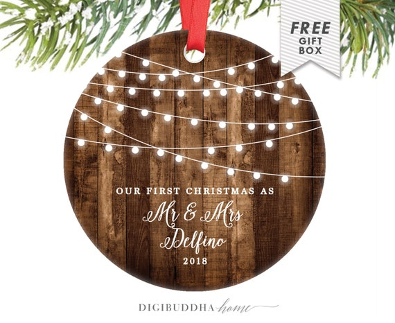 Rustic First Christmas as Mr & Mrs Ornament Our First Christmas Married  Ornament Newlywed Christmas Ornament Wedding Ornament Wood Lights - Rustic First Christmas As Mr & Mrs Ornament Our First Etsy