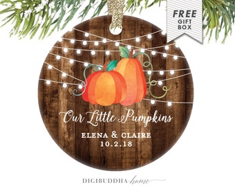Twin Babies First Christmas Personalized Names Christmas Ornaments Baby Shower Gift New Twins Present Our Little Pumpkins Rustic Ornament