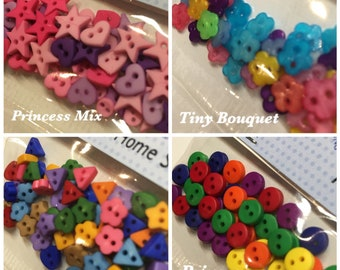 SALE TINY SHAPES PRIMARY COLOURS Craft Buttons Mini Doll Sewing Baby Small