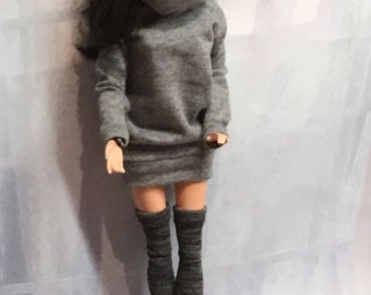 d84b86c8586 Grey Melange Sweater Dress with Thigh Highs for your Made to Move Barbie  Doll - Barbie Doll Sweater