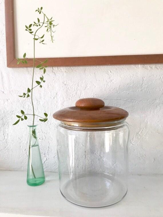 Huge Vintage Jar With Teak Lid by Etsy
