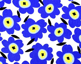 Japanese Fabric Scandinavian Flower Canvas - blue - 50cm