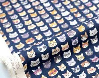 Japanese Fabric Kokka cat glasses - blue - fat quarter