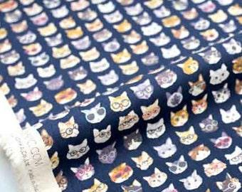 Japanese Fabric Kokka cat glasses trefle canvas - blue - 50cm