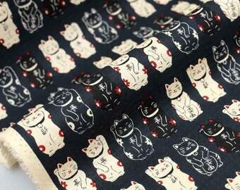 Japanese Fabric Traditional Maneki neko cat - black - fat quarter