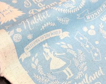 Japanese Fabric Kokka Alice in Wonderland canvas - blue - fat quarter