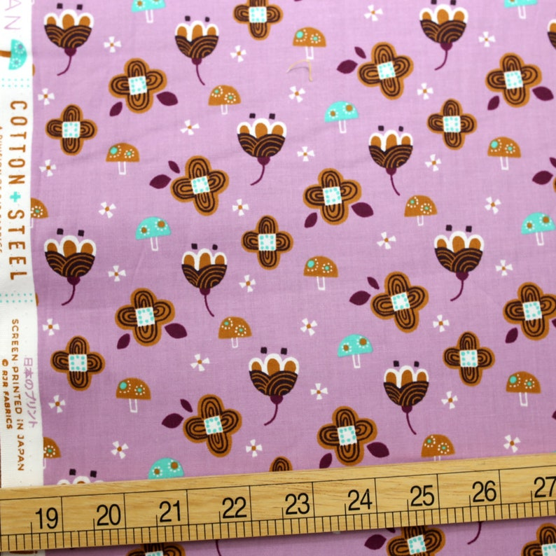 Light Pink Fat Quarter Cotton Steel Fuwafuwa-san no Bokujo Kinoko to Hana-chan Cotton