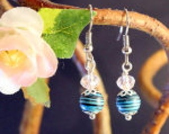 Turquoise and Glass Dangle Earrings