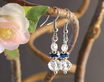Blue Fire and Crystal Dangle Earrings
