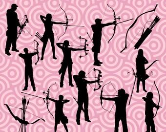 Archery Silhouette, Archery Clipart, Archery Images, Archery Pictures, Instant Download 141