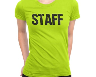 75f8aaaea9618f NYC FACTORY Ladies Neon Yellow Safety Green Staff T-Shirt Front & Back  Print Event Shirt Womens Tee