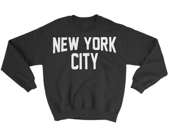 1f948e995 NYC FACTORY New York City Sweatshirt Screenprinted Black Adult NYC Lennon  Shirt