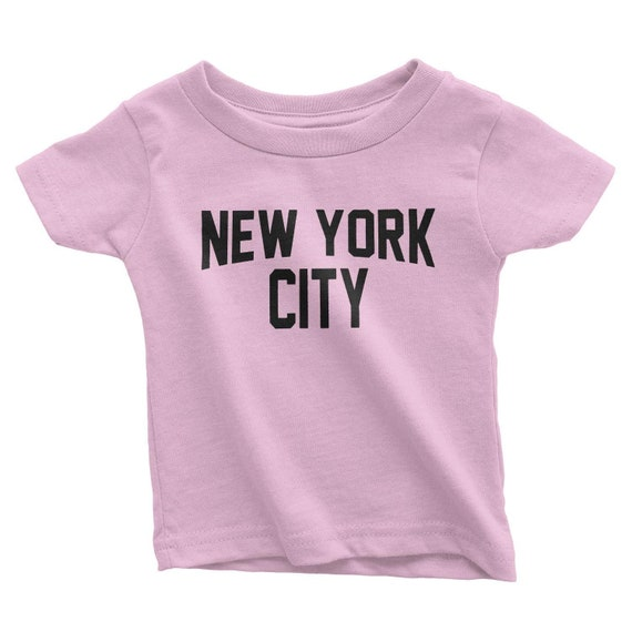 NYC FACTORY New York City Toddler T Shirt Screenprinted Pink Baby Lennon Tee