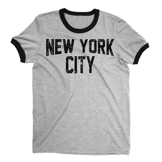 New York City John Lennon Ringer Shirt Heather Gray Print Mens Tee T Shirt