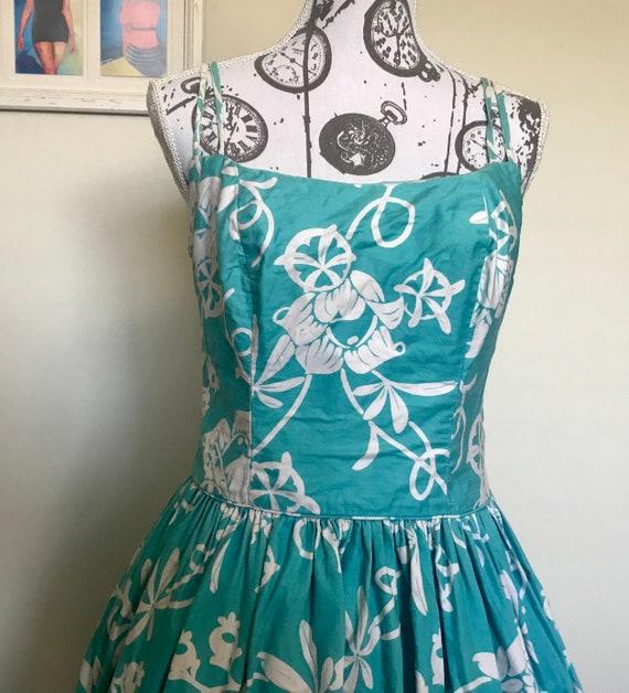 Vintage 1960s Aqua Hawaiian Sun Dress
