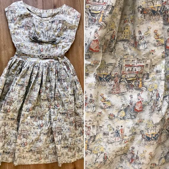Vintage 1950s Novelty Print Victorian Day Dress