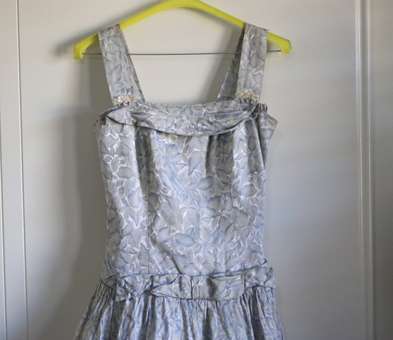 Vintage 1950s pale blue tapestry evening gown