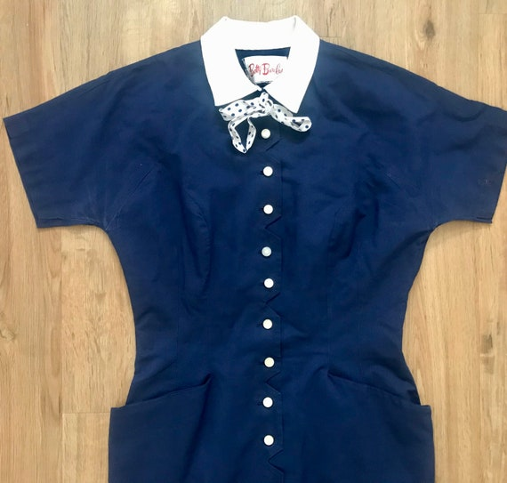 Vintage 1950s Betty Barclay Navy Wiggle Dress