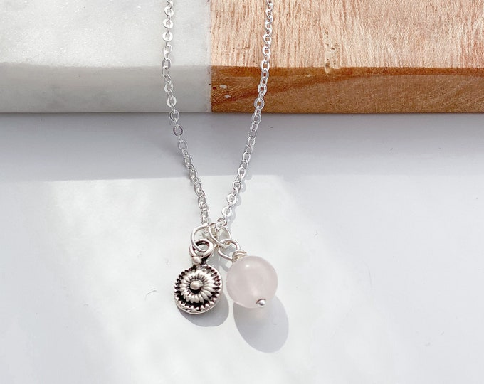 """Featured listing image: Vintage Disc Charm, Semi-precious gemstone Necklace. 18"""" Sterling silver plated chain. layering, gift, wedding, bridesmaid"""