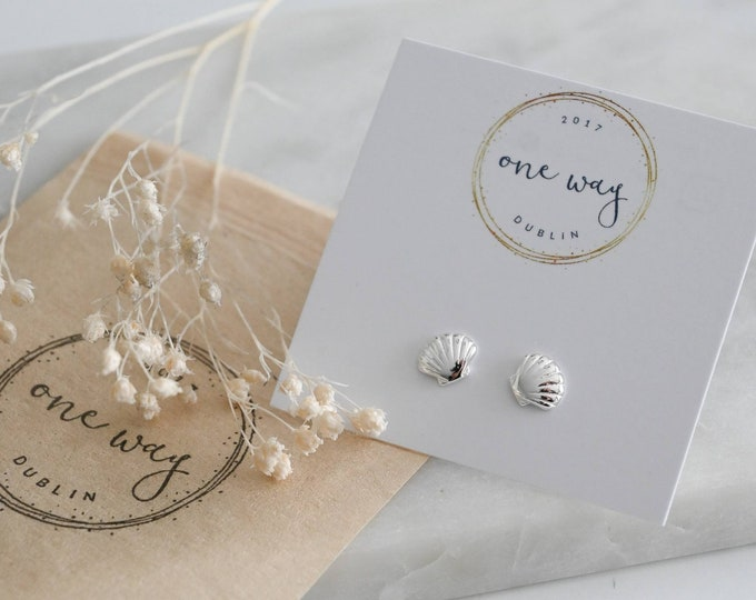 Featured listing image: Sea Shells Dainty Stud Earrings, 925 Sterling Silver. Gift/friend/girlfriend/mother/Thank You/Holiday