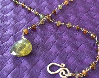 Green Amethyst Lariat with Tourmaline and gold Chain
