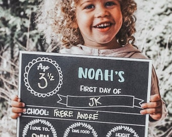 First day of school chalkboard sign, back to school sign, first day of school poster, chalkboard, reusable Wood backing