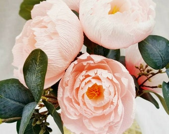 Crepe Paper Peony for wedding decor | bridal showers | home decor | nursery flowers | floral arranging