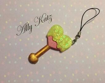 Yellow Heart lollipop charm