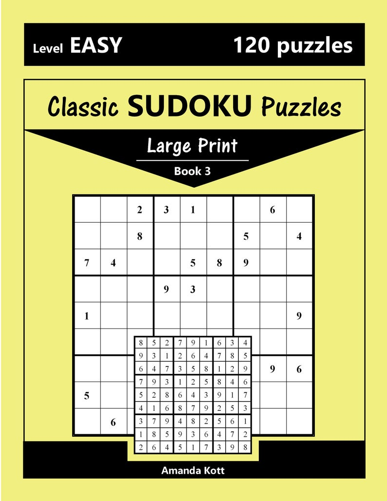 Printable Large Print Classic Sudoku Puzzles - 120 puzzles - Easy - Book 3