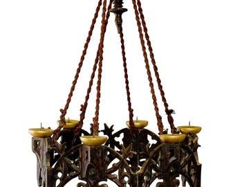 Geschnitzte Holz Adelsitz Kronleuchter Mit Kerzen
