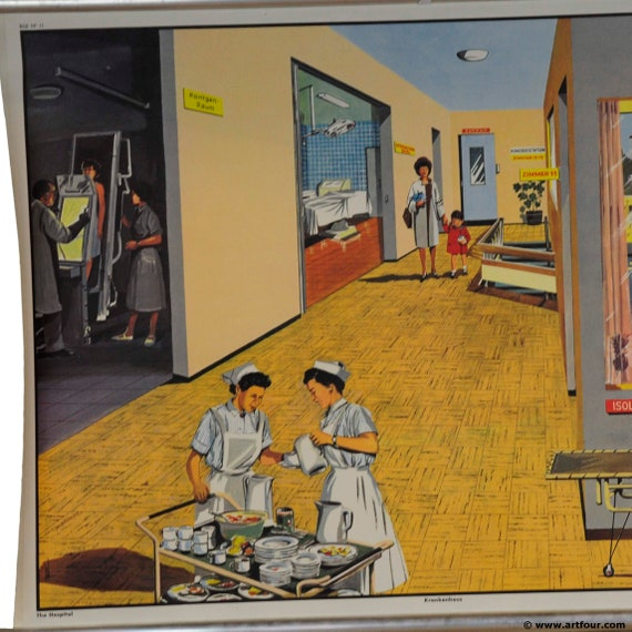 vintage rollable poster kids wall chart on the building construction side worker