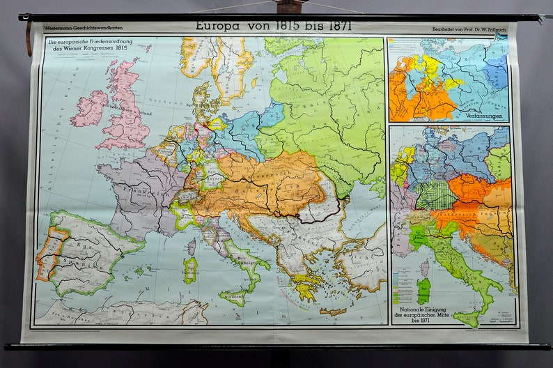 pull-down wall chart geography map history Europe 1815-1871