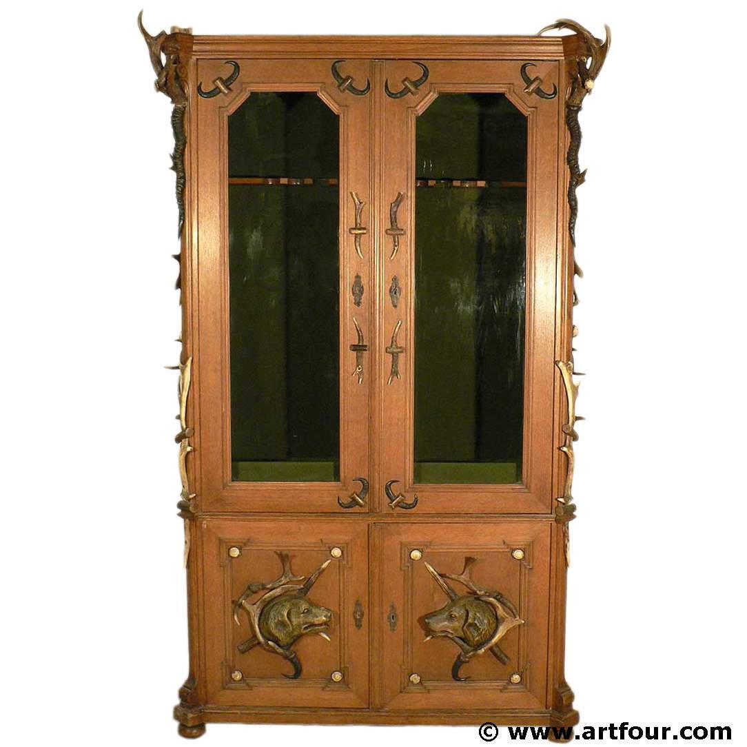 Superb Black Forest Antler Gun Cabinet Ca 1900 Download Free Architecture Designs Scobabritishbridgeorg