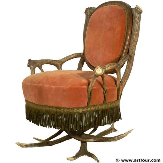 Gewei luie stoel oostenrijk ca 1880 etsy for Luie stoel