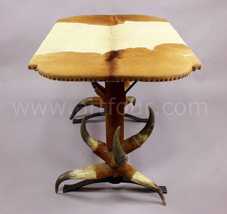 1870 1800-1899 Antiques Antique Bull Horn Table With Green Velvet Ca