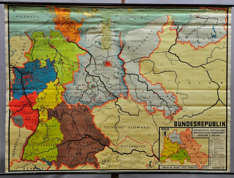 Map Of Germany Natural Resources.Vintage Map Rollable Wall Chart Germany Natural Resources