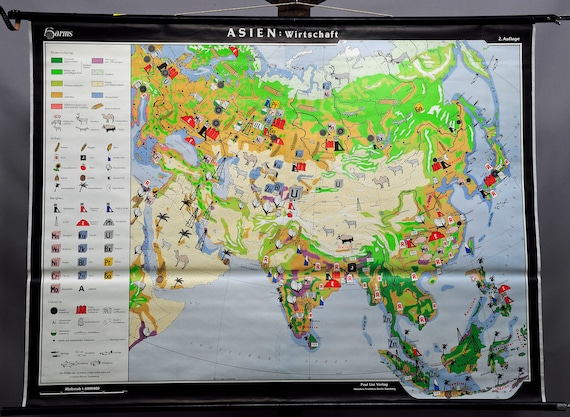 Geography Map Of Asia.Pull Down Wall Chart Poster Print Geography Map Asia Economy Etsy