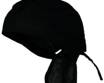 899cd2e1095 Black Solid Bandana Head Wrap Motorcycle Skull Cap Doo Rag Hat Cotton Chemo  Durag for Men or Women