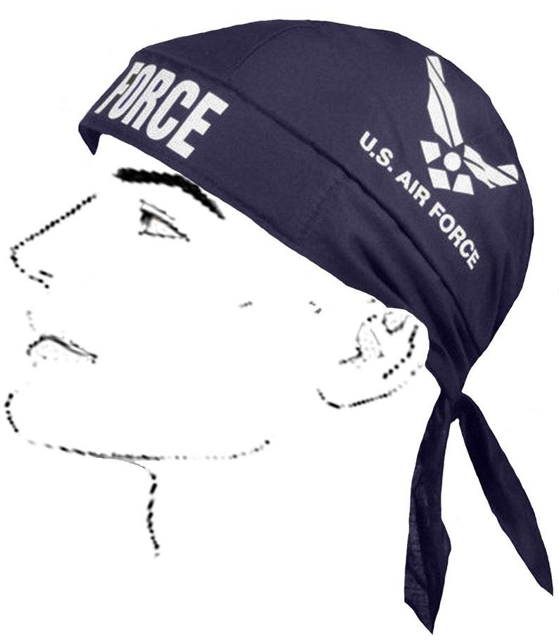 93ca27e71eb046 U.S. Air Force Bandana Skull Cap Blue and White Cotton Doo | Etsy