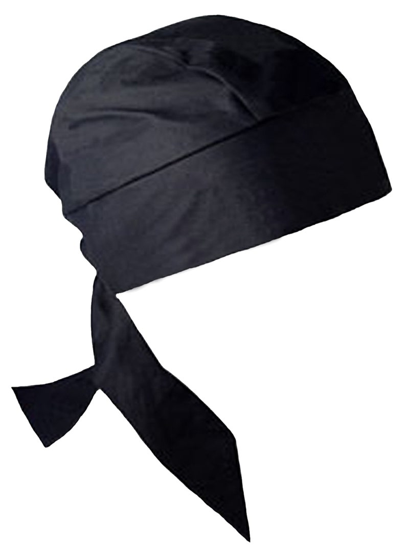 d7e7c2e3007 Black Solid PIRATE Bandana Head Wrap with SWEATBAND Motorcycle