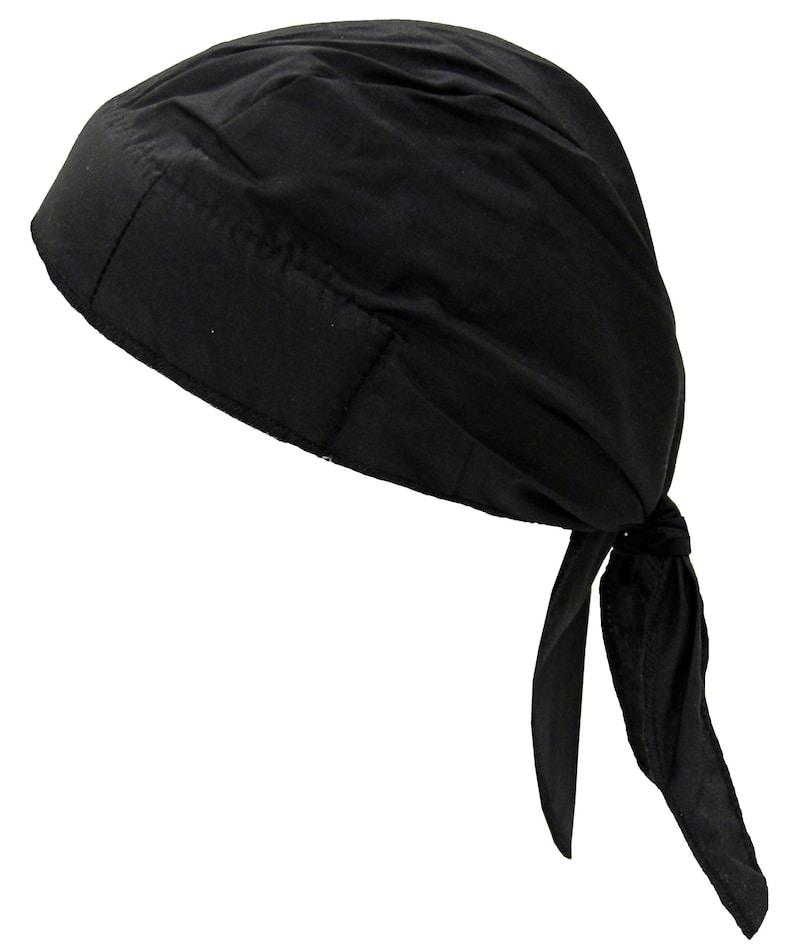 3cb3dabca7 Black Solid Bandana Head Wrap with SWEATBAND Motorcycle Skull