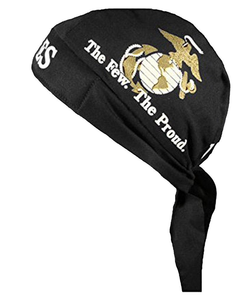 f66ac396e66 U.S. Marine Bandana Skull Cap Black White and Gold MARINES The