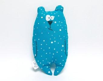 "Doudou bear ""Jean-Jacques"" customizable, Fabric blue patterns stars, Birth gift, Plush first name"