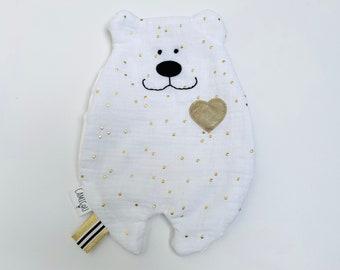 Doudou white dish, Personalized Doudou, Double gauze Doudou, Birth gift
