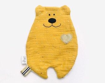 Doudou mustard yellow dish, customizable Doudou, Double gauze Doudou, Birth gift, Baby gift