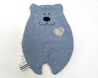 Doudou dish blue gray, Doudou personalized, Doudou double gauze, Birth gift