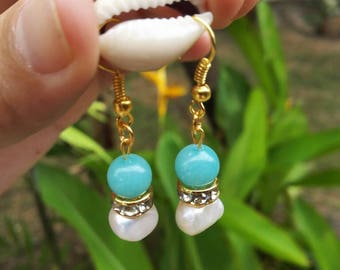 Pearl and Amazonite earring set perfect gift for her,bead , pearl earring, jewelry , gift,pearl earring,bridal,bead earring, cheap