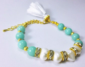 Pearl and Amazonite bead stone bracelet for women ,gift,gift for her,Stacking Bracelet,Pearl Jewelry, Jewelry bracelet