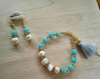Pearl and Amazonite bracelet and earring set , pearl bracelet, bead bracelet, earring, pearl erring,jewelry ,Stacking Bracelet,gift for her